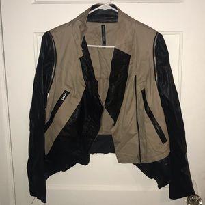 Walter Baker Black Leather Khaki Jacket Size M